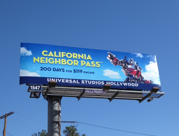 Transformers Universal Studios California neighbor pass billboard