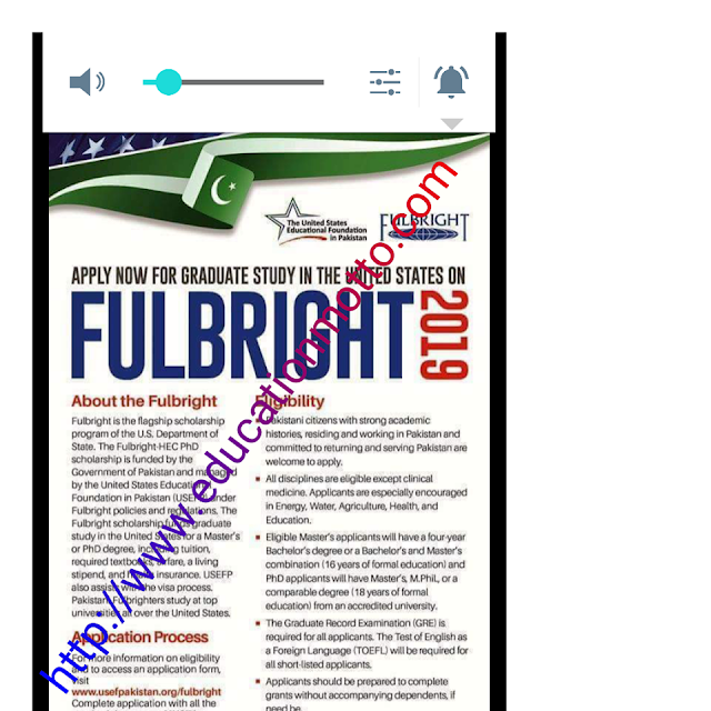 FulBright Scholarship in USA For Pakistan, Description of Scholarship, Application Deadline, Eligibility Criteria, Method of Applying, Master And PhD Program,
