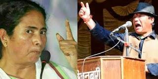 Angry Mamata banerjee and Bimal Gurung