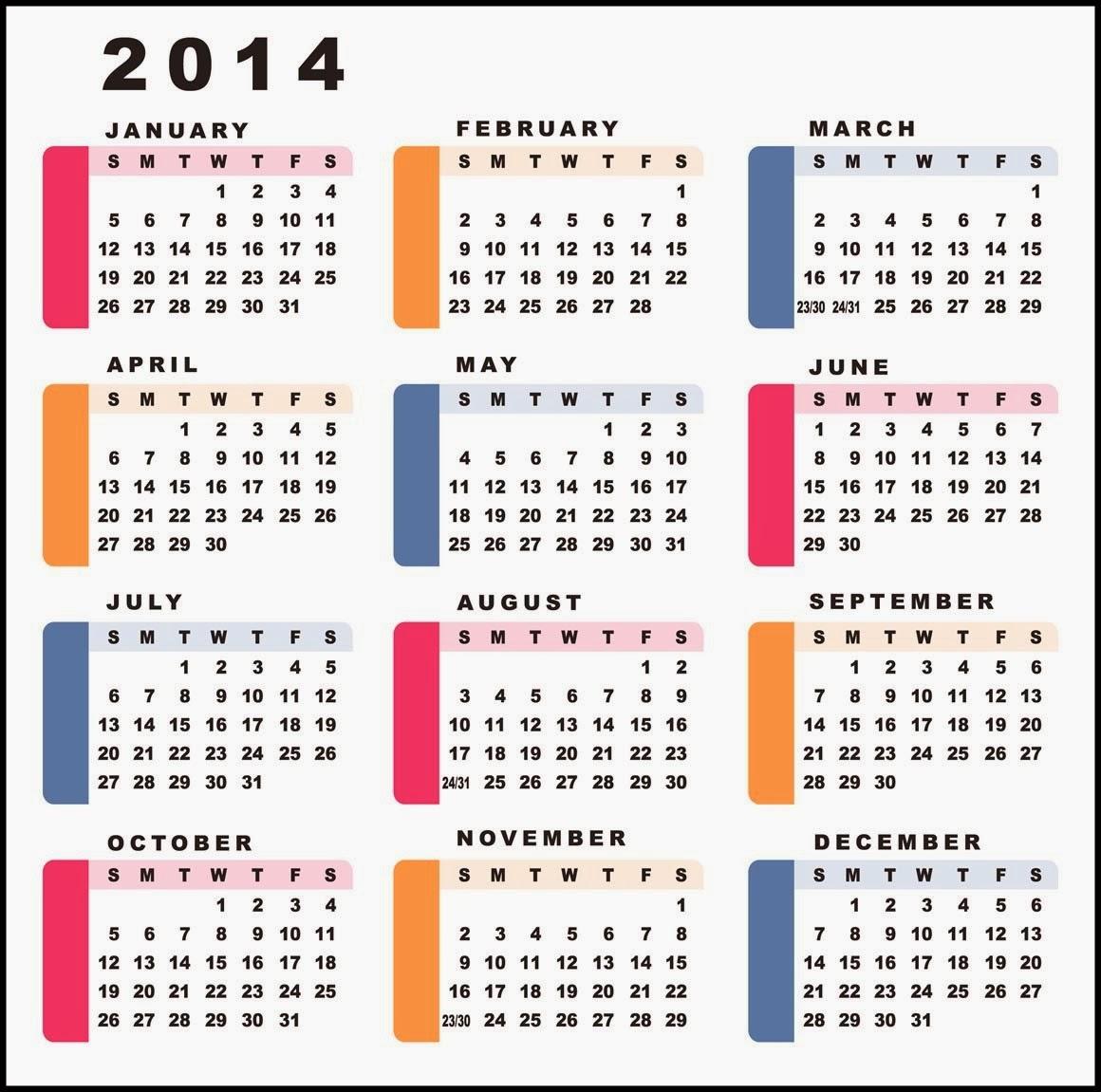 New Year Desktop Calendars January To December