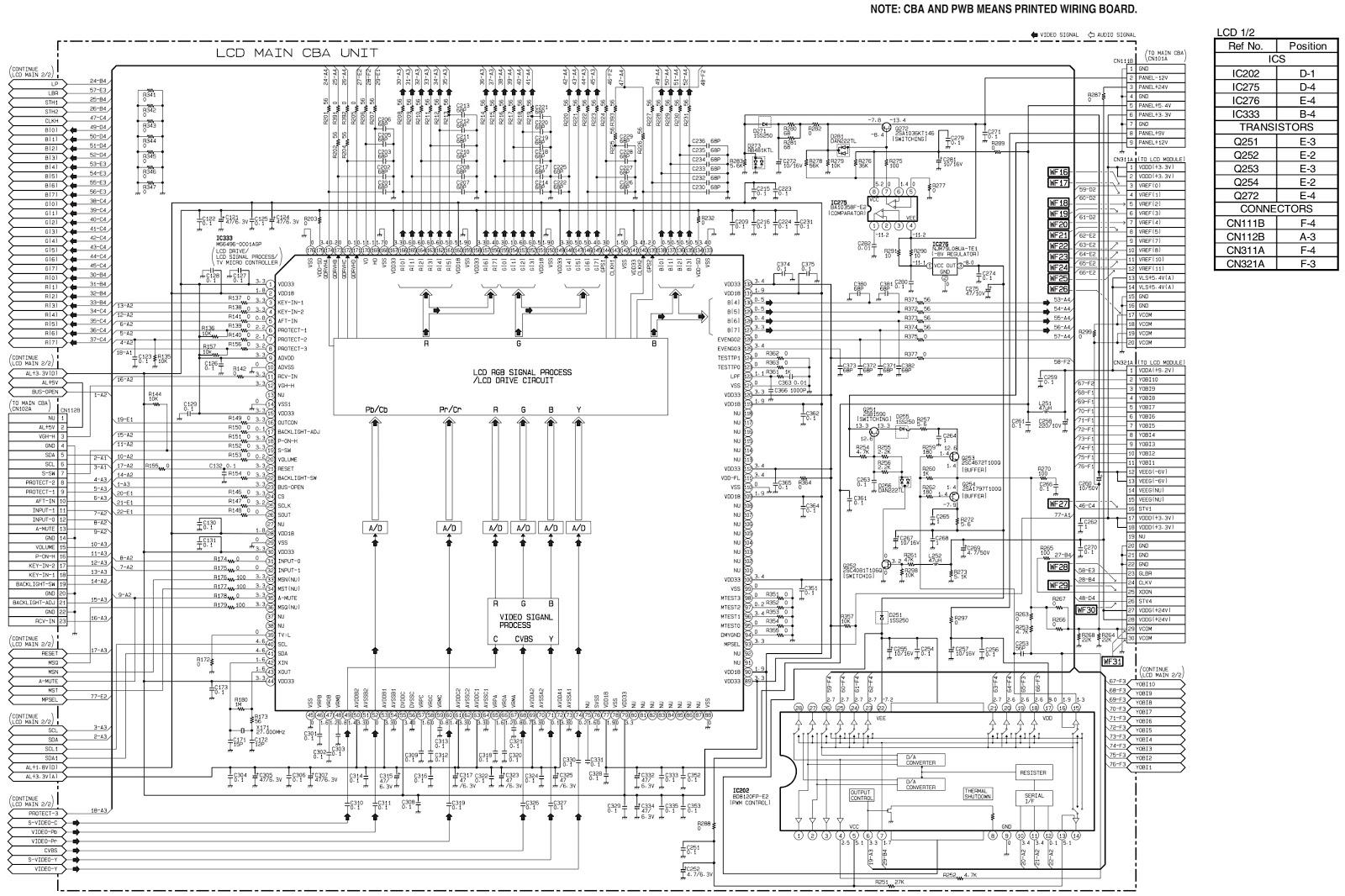 Sharp Lc 15sh1u 15av1u Smps Back Light Inverter And Clarion Nx700e Wiring Diagram Lcd Main Schematic