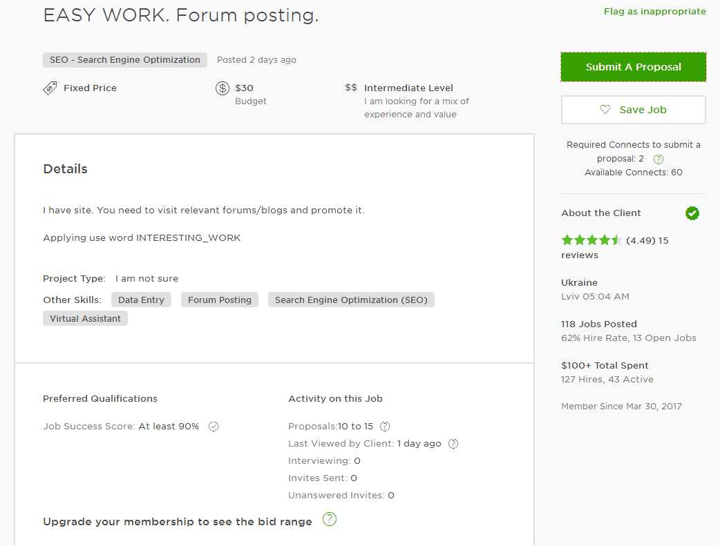 Upwork Cover Letter Sample For Forum Posting