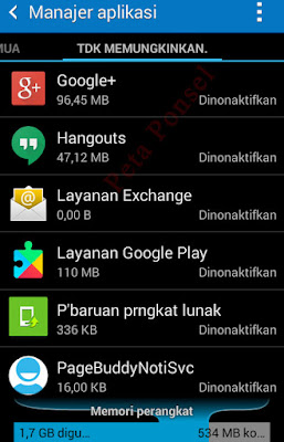 Daftar aplikasi di non-aktifkan