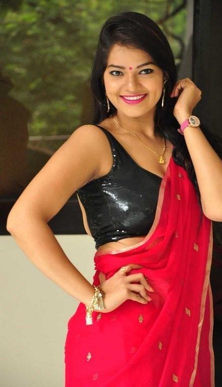 Hot Indian Actress In Sexy Black Transparent Wet Saree -8271