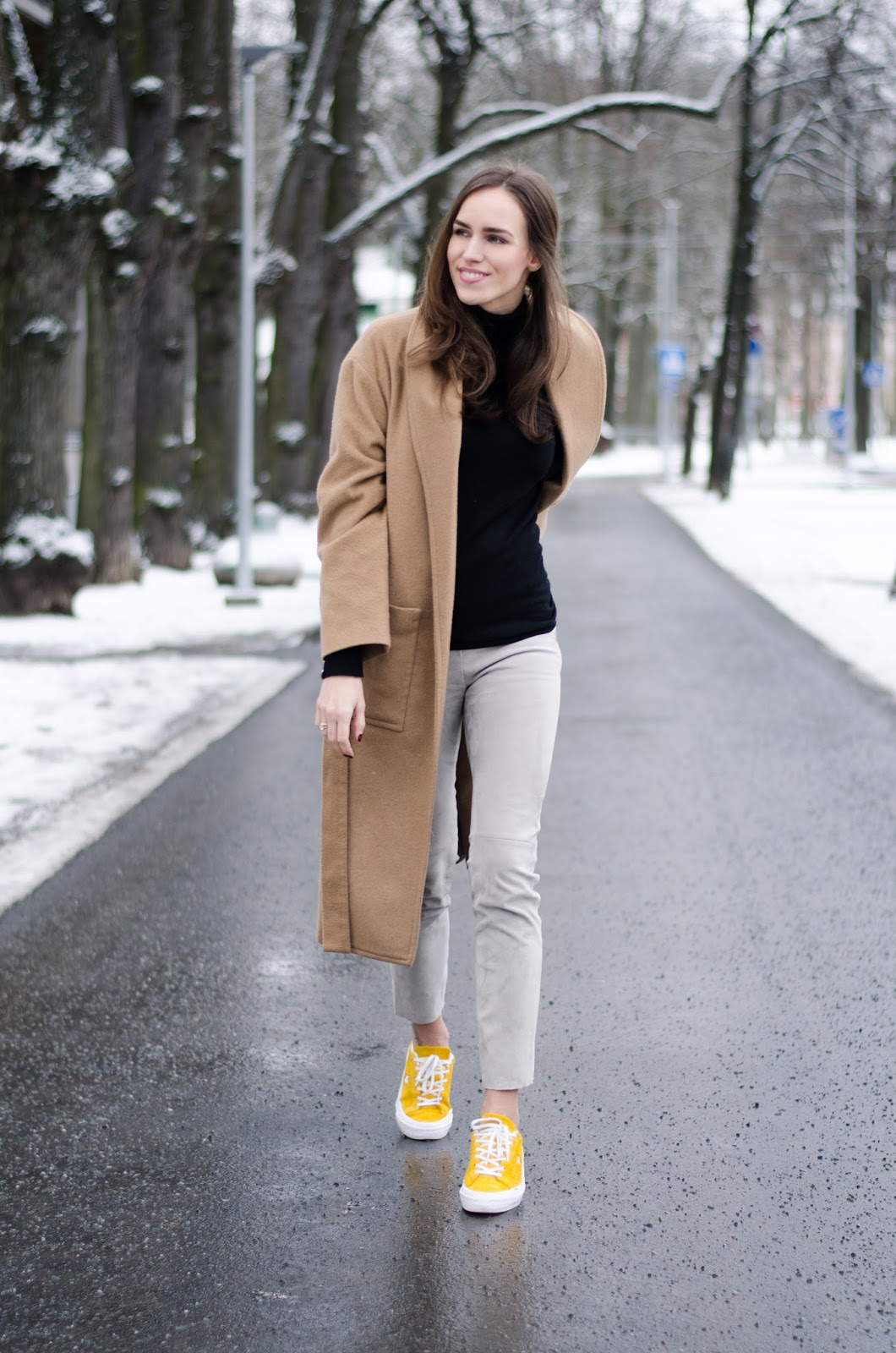 kristjaana mere camel coat suede pants outfit