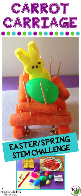 Spring or Easter STEM Challenge: In Carrot Carriage, students design a vehicle made primarily of carrots for the Easter Bunny. If you don't celebrate Easter, not to worry! Carrot Carriage can be for Cinderella (imagine Fairy Godmother ran out of pumpkins), or for anyone else who might need a ride! Includes modifications for grades 2-8.