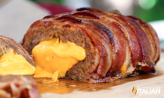Bacon Double Cheeseburger Stuffed Meatloaf  cut open