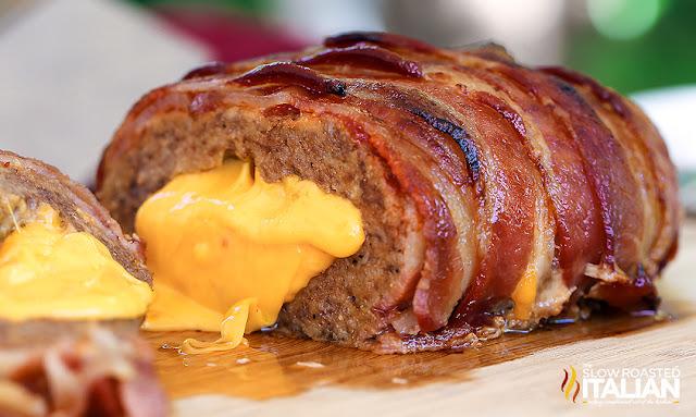 Bacon Double Cheeseburger Stuffed Meatloaf  cut open