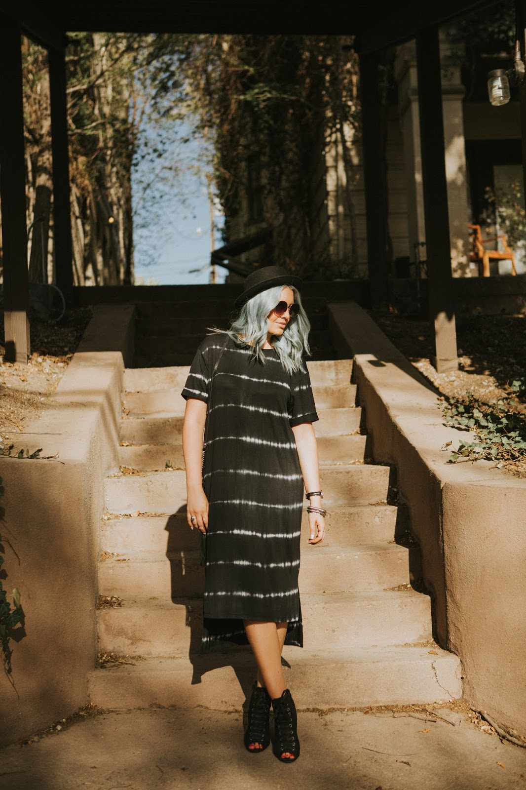 Modest Outfit, Utah Fashion Blogger, Blue Hair