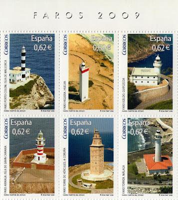 Sellos de la Hoja Bloque de Faros 2009