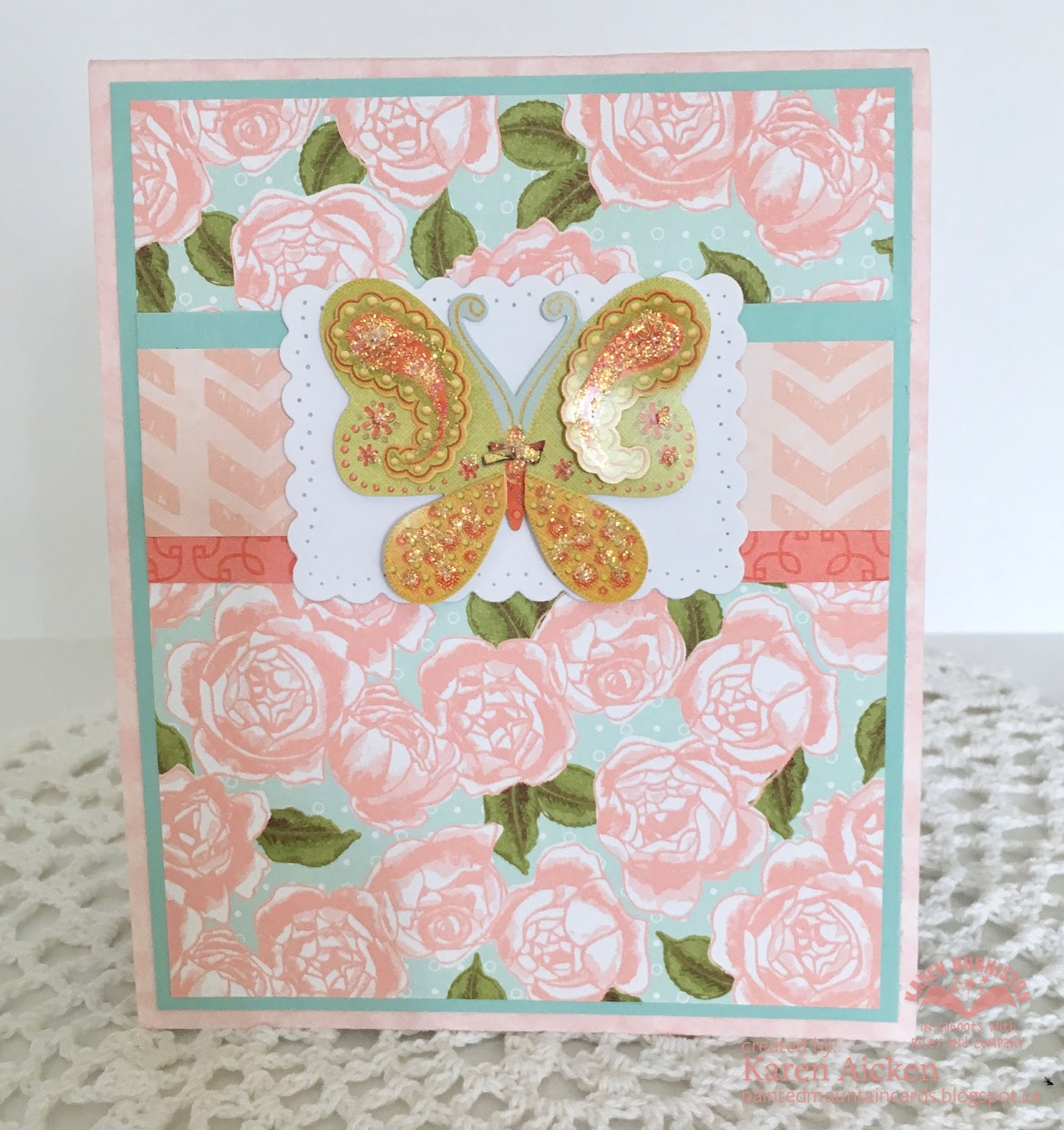 This Pretty Patterned Paper Matched The Card Colours Perfectly And I Had A  Leftover Butterfly Sticker On The Sheet. Done!