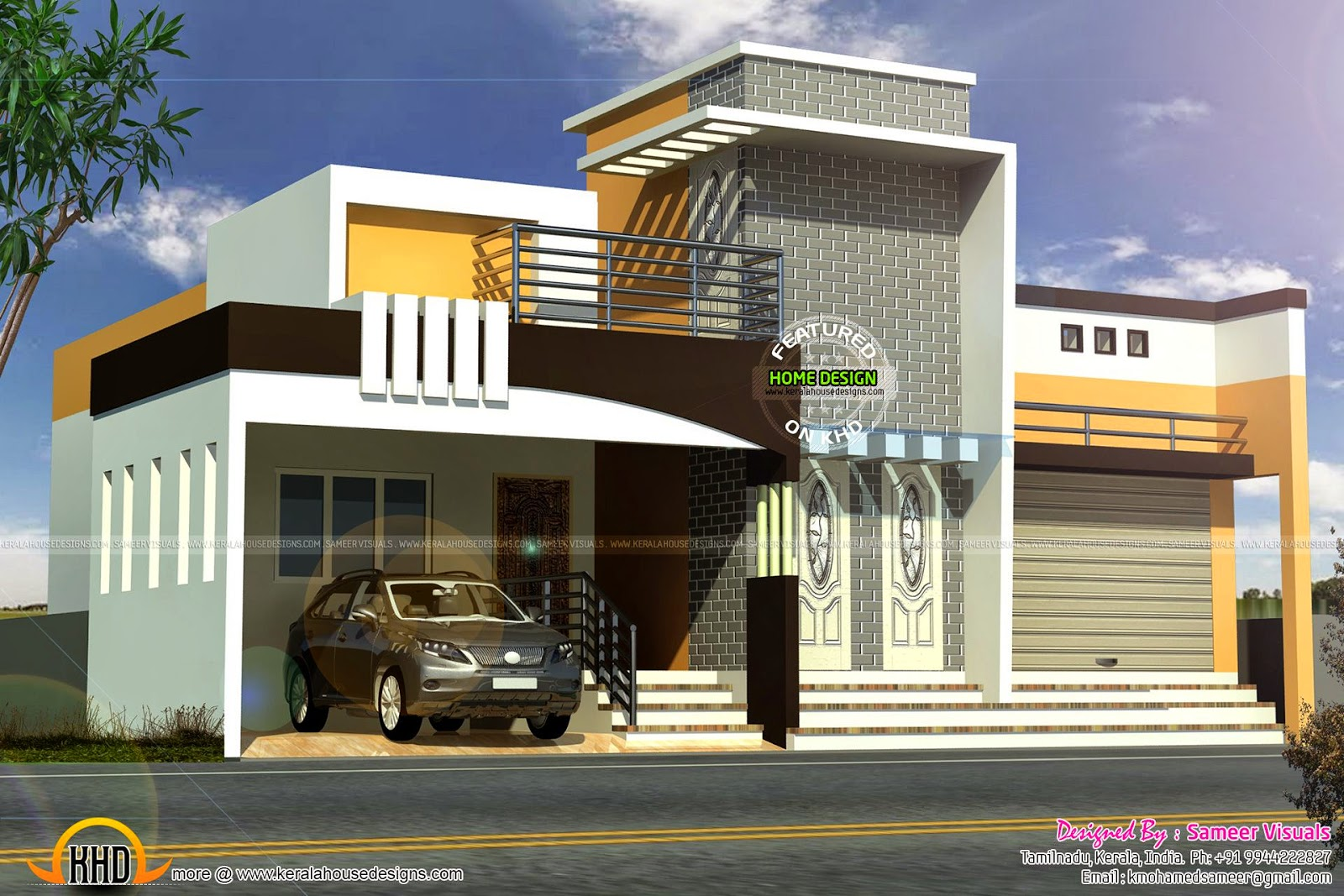1230 sq ft modern house kerala home design and floor plans for Tamilnadu home design photos