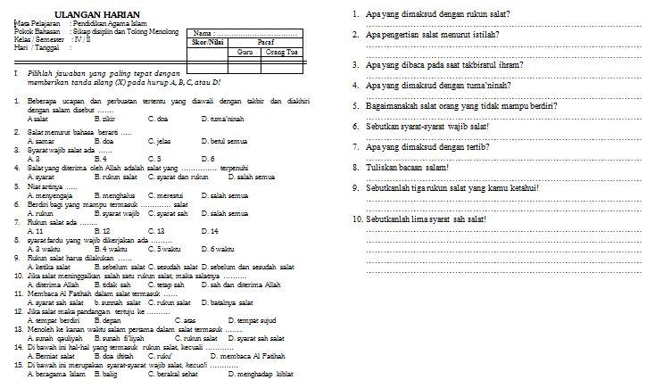 Contoh Soal Ulangan Harian Pendidikan Agama Islam Kelas Iv Format Microsoft Word Wiki Edukasi