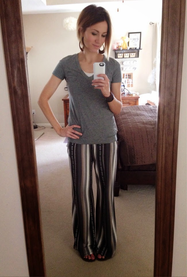 Neutral palazzo pant and gray tee