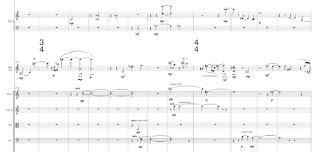 Compases iniciales del concierto para violín de Michel van der Aa
