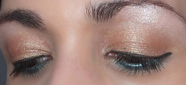 Gold and Green eyes Makeup