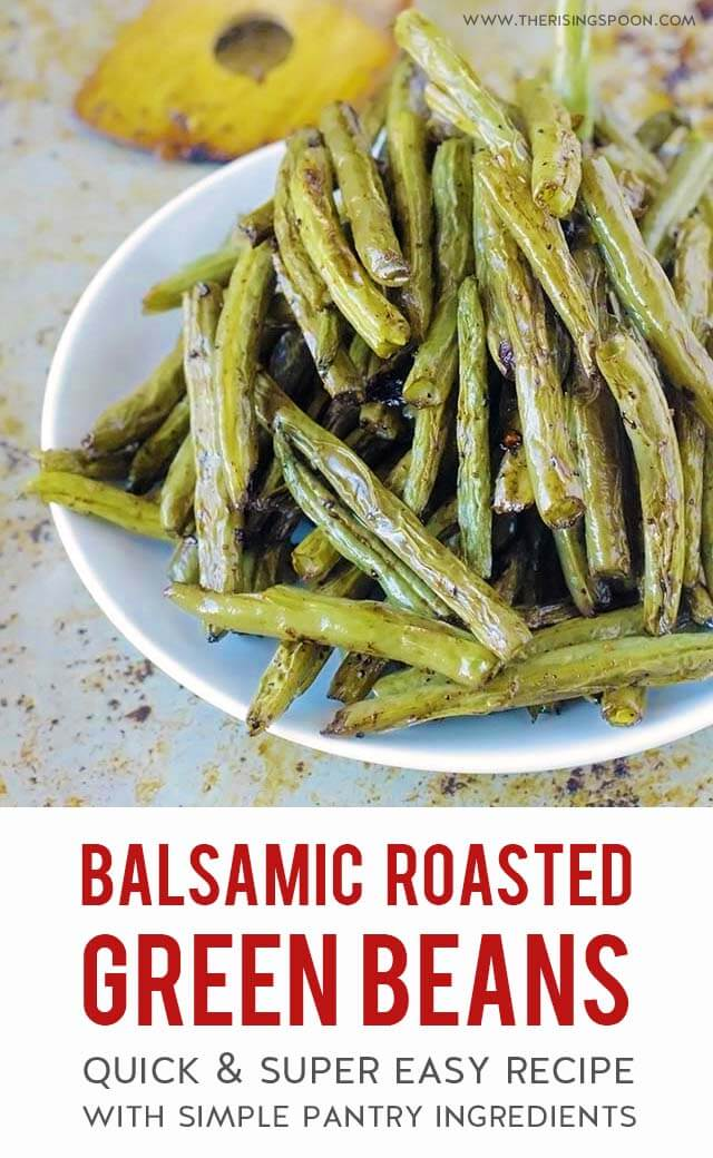 Fresh green beans tossed with cooking oil, seasonings and balsamic vinegar then quickly roasted in the oven until tender, slightly caramelized and crispy around the edges. This is the best & easiest way to fix fresh green beans in the oven! {vegan, paleo, grain-free, gluten-free}