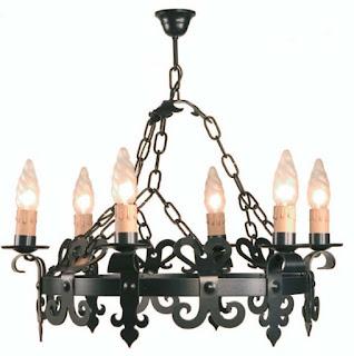 lampara techo comedor rustico negro