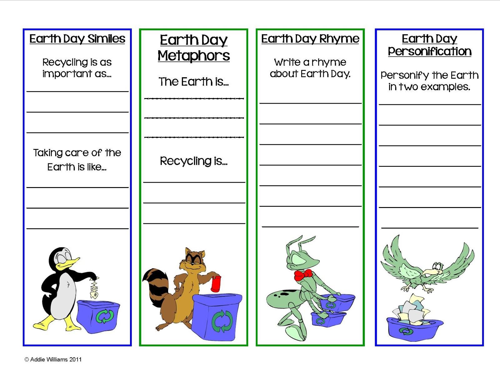 Classroom Freebies Too Earth Day Bookmarks