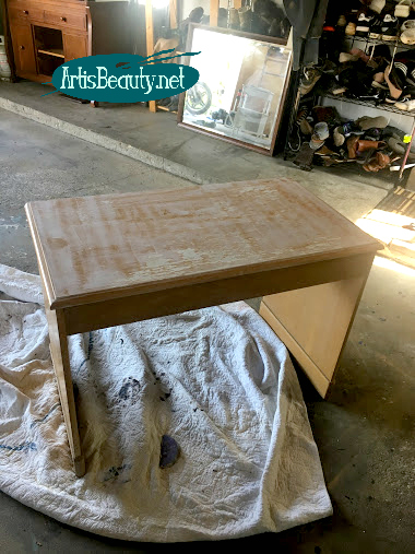 free old blonde wood desk with scratched and and damaged finish before painted makeover