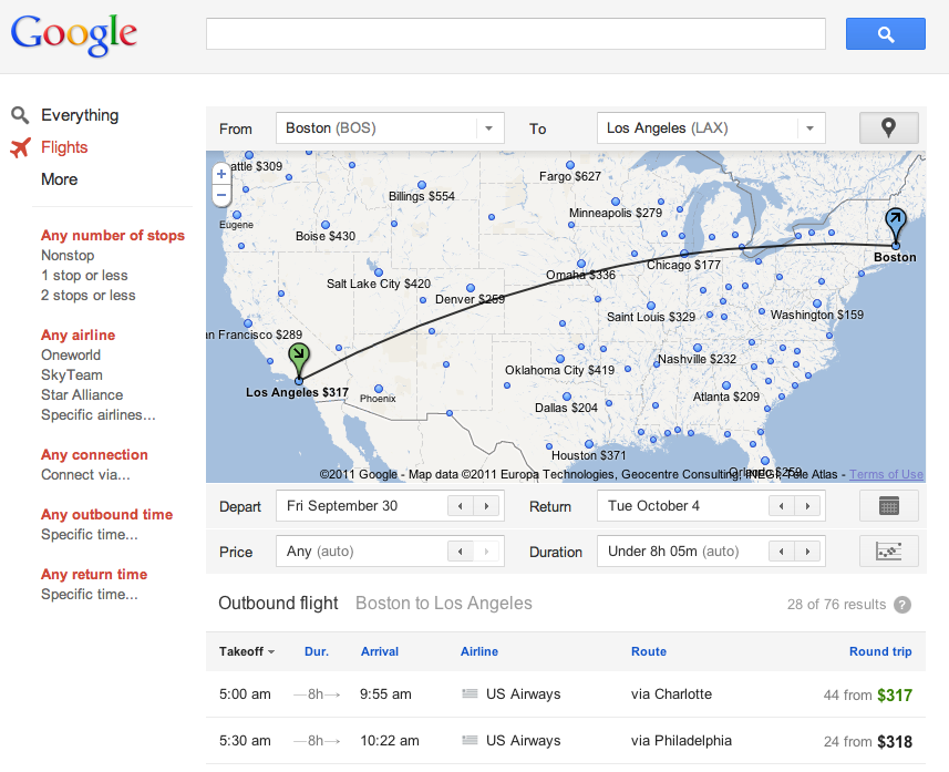 Google Flights home page