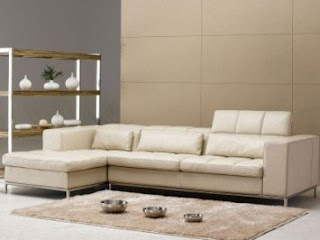 TOSH Furniture Beige Leather Sectional Sofa FY635