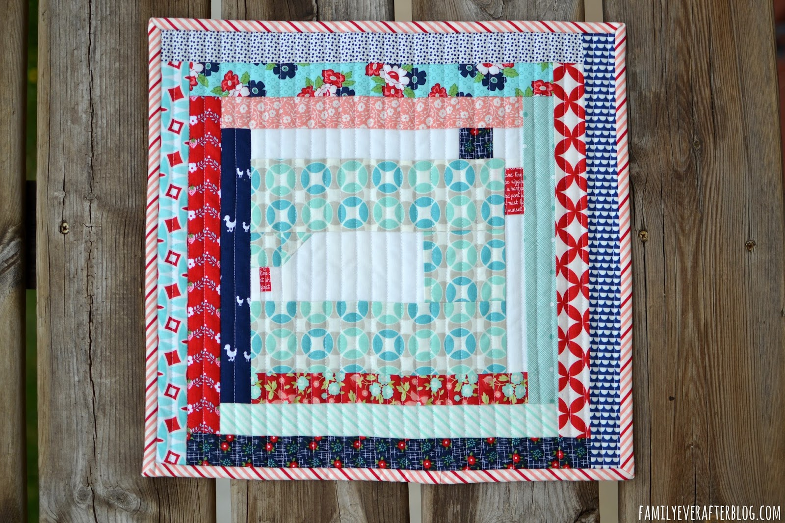 Mini Quilt- Sewing Machine in a Log Cabin