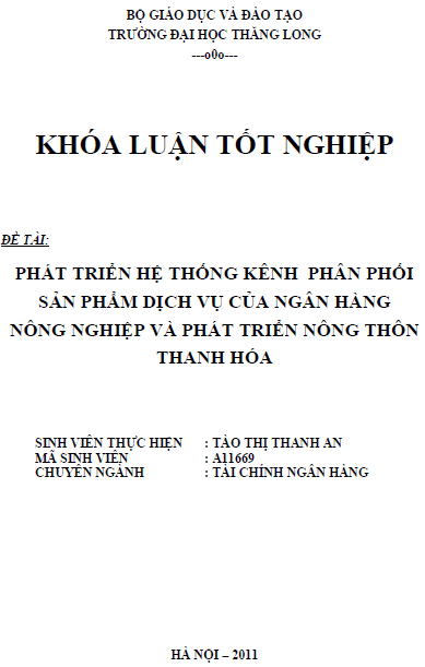 Phát triển hệ thống kênh phân phối sản phẩm dịch vụ của Ngân hàng Nông nghiệp và Phát triển Nông thôn Thanh Hóa