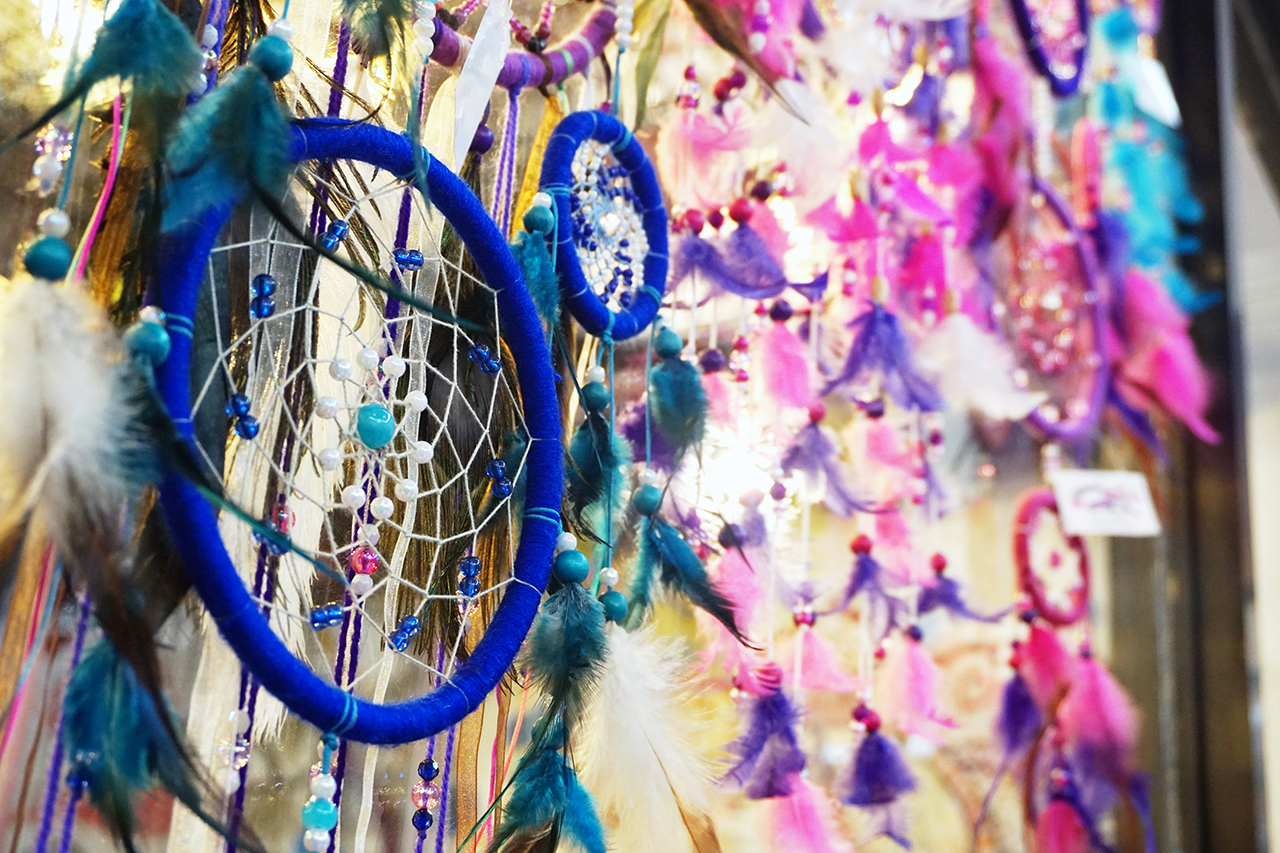 Some of the many dreamcatchers on display at Purple Beetle Cafe