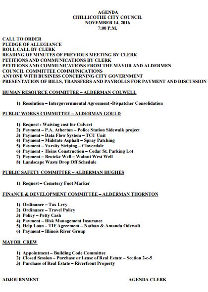 City Council Agenda For Nov 14th