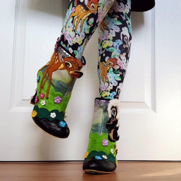 wearing limited edition Disney Bambi ankle boots and tights