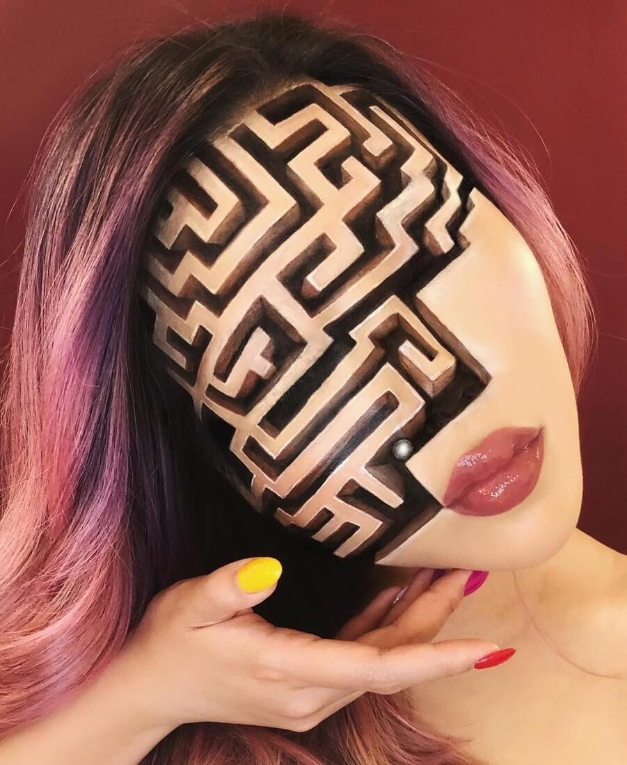 06-Labyrinth-Mimi-Choi-Optical-Illusions-Body-Painting-Makeup-Effects-NO-Photoshop-www-designstack-co