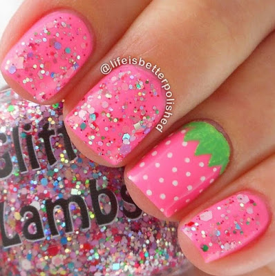 """Strawberry ShortCake"" Glitter Lambs Nail Polish Swatched by @LifeIsBetterPolished"