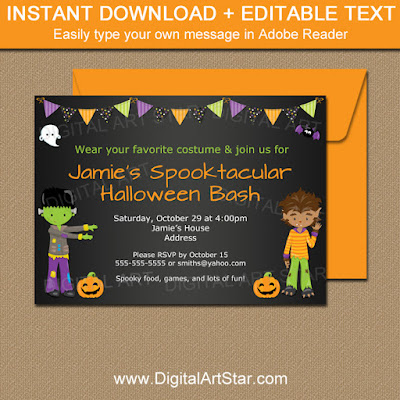 kids halloween bash printable invitations