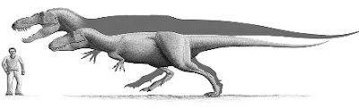 Dibujo del Tarbosaurus junto a un hombre