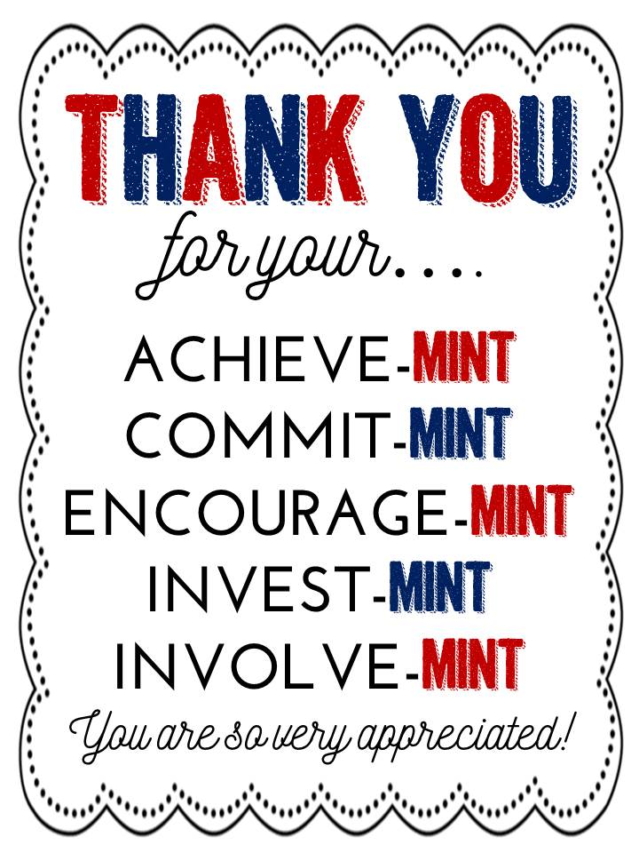Comprehensive image within thank you for your commit mint printable