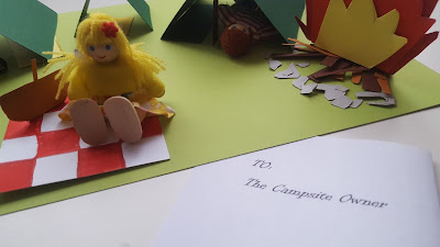 Dolls visiting the Paper Craft Camp Site