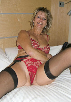Older woman in red bra and panties