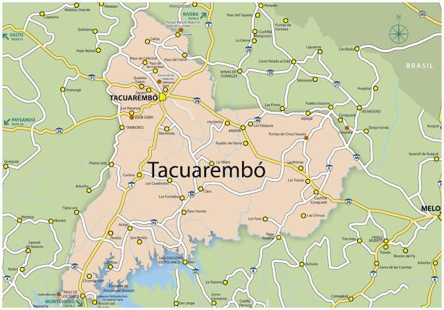 Mapa do Uruguai - Departamento de Tacuarembó