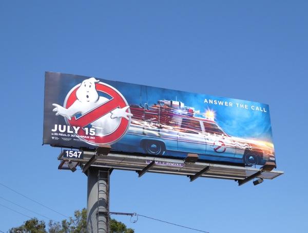 Ghostbusters reboot Ecto 1 billboard