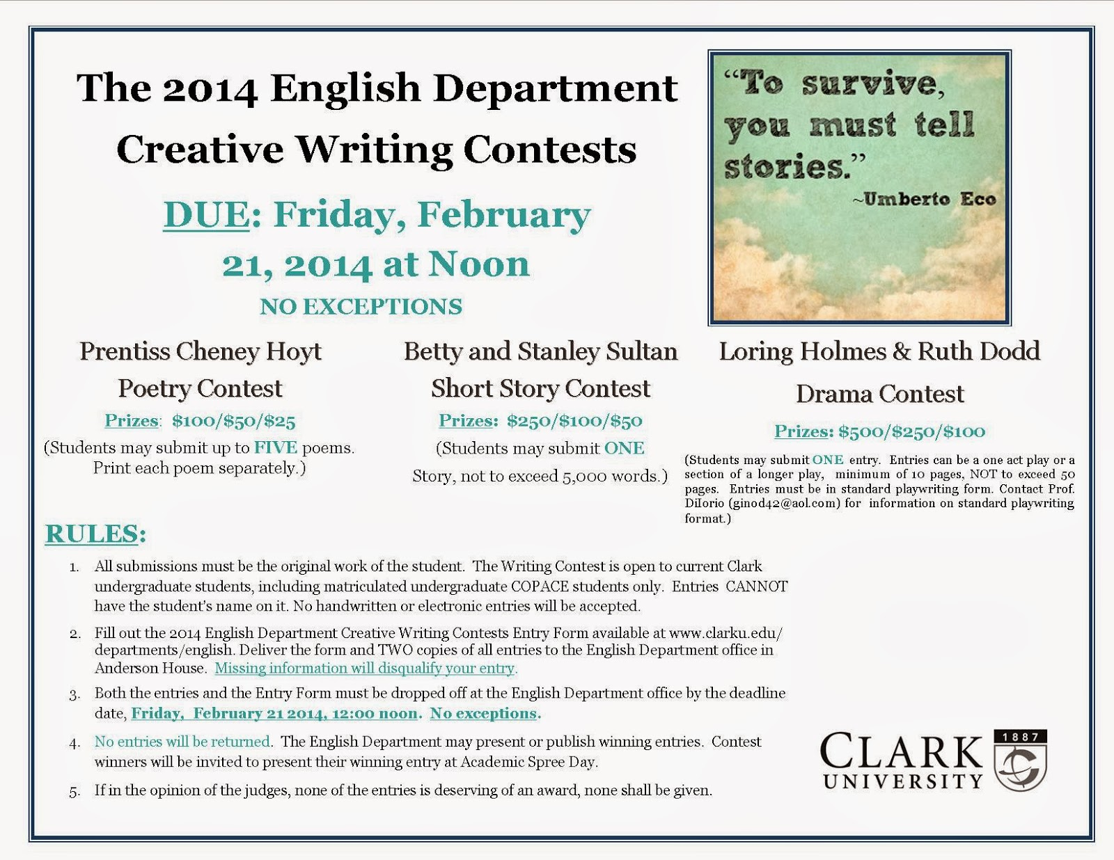 free creative writing contests 2014 William faulkner-williamwisdom creative writing competition the 2014 competition opens january 1 and accepts entries in eight categories: novel, novella, book-length narrative non-fiction, novel-in-progress, short story, essay, poetry, and short story by a high school student.