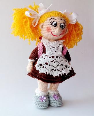 кукла школьница крючком