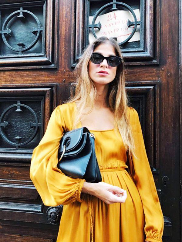 yellow boho silk dress