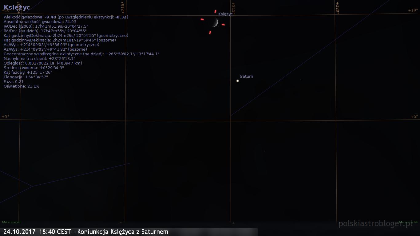 24.10.2017  18:40 CEST - Koniunkcja Księżyca z Saturnem