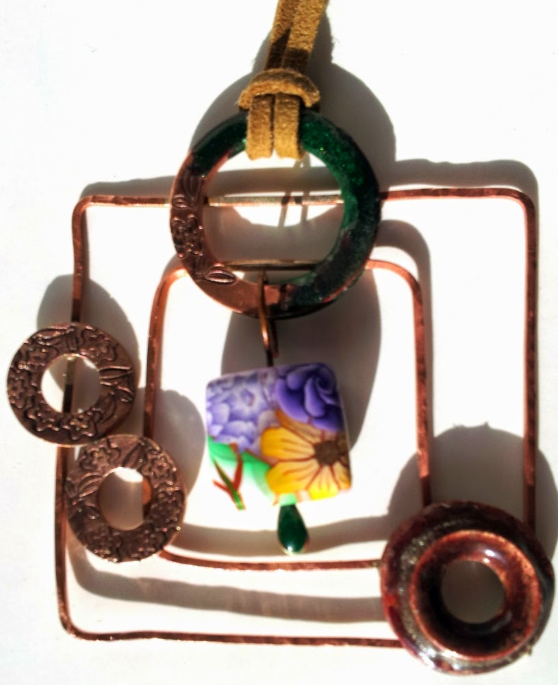 Exotic dreams: ooak polymer clay, copper, enamel, metal work, ooak pendant :: All Pretty Things