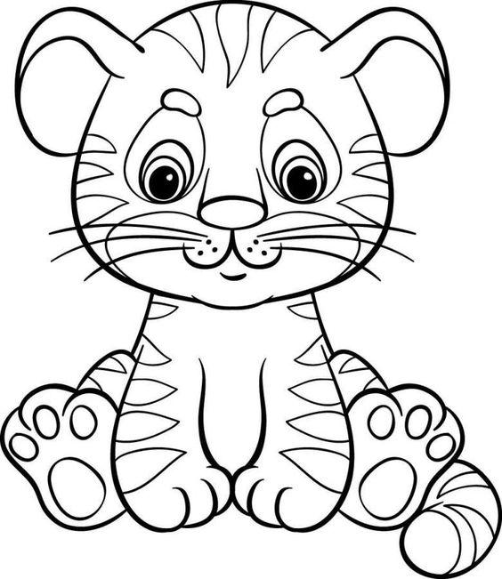 Tranh tô màu con hổ con cute