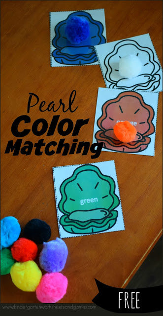 FREE Pearl Color Matching Activity - this free printable, hands on activity for kids is a great way to practice identifying colors and color names. This is a great center for toddler, preschool, and kindergarten age kids. #preschool #kindergarten #learningcolors
