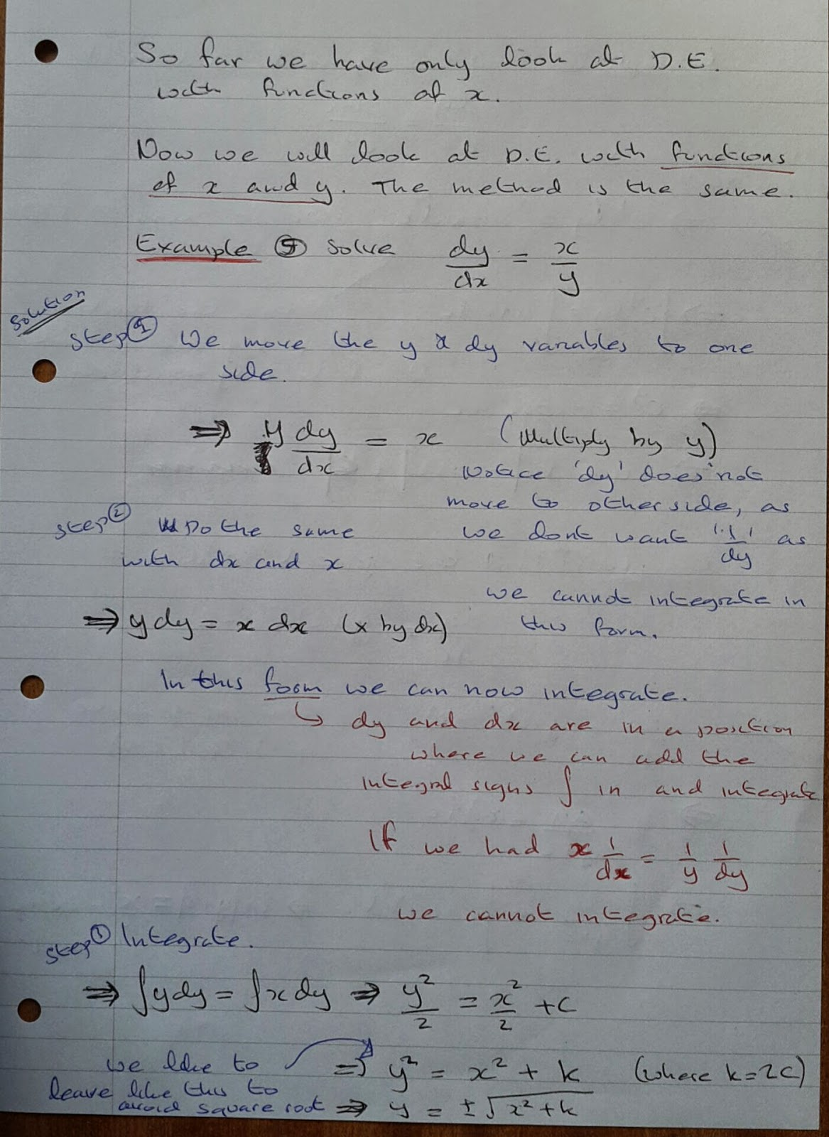 A Level Maths Notes: A2 Differential Equations: Solving by