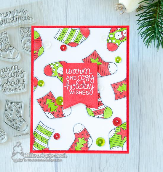 Christmas Stocking Card by Tatiana Trafivomich| Holiday Stockings Stamp Set by Newton's Nook Designs #newtonsnook #handmade