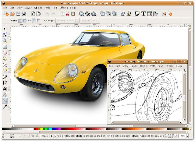 بديل برنامج الاليستريتور المجاني Inkscape انكسكيب